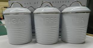 kitchen tea coffee sugar canisters enamel retro kitchen canisters white blue grey tea coffee