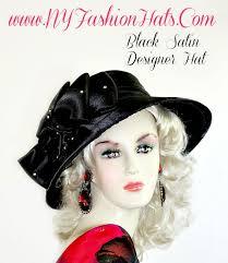 funeral hat wide brim black satin formal wedding hat designer fashion hats