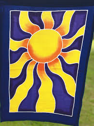 Flag Yellow Sun Celestial Sun Moon Star Planet Prayer Flag String Bali Batik Art