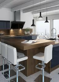 K Henarbeitsplatte Schlichte Holz Küche Mit Kochinsel In Modernem Design Barhocker