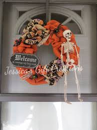 skeleton burlap wreath halloween decoration door decor wall decor