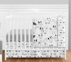 black and white fox and arrow baby bedding 4pc boys crib set by