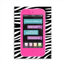cell phone invitation for tween teen birthday party ipod or