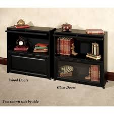 Small Two Shelf Bookcase Auston Black Bookcase With Wooden Panel Doors