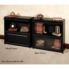 Bookcase Black Wood Auston Black Bookcase With Wooden Panel Doors