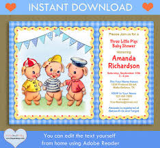 pigs baby shower birthday invitation story book