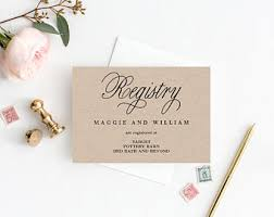 bridal shower registry registry card etsy