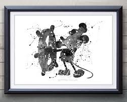 disney mickey mouse steamboat willie watercolor art poster