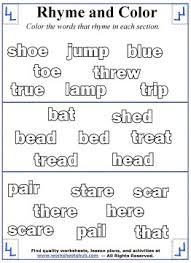 printable rhyming words rhyming word coloring