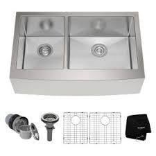 Stainless Kitchen Sinks by Kraus Farmhouse Apron Front Stainless Steel 33 In Double Basin