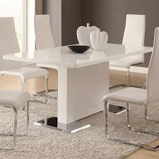 White Mid Century Dining Table Coaster Modern Dining White Dining Table With Chrome Metal Base