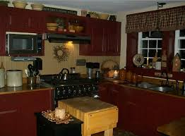 with cabinets painted in cranberry wainscot in olde ivory and