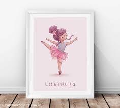 ballerina arabesque personalised kids print chico u0026 chica