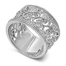 silver rings vintage images Sterling silver women 39 s clear cz vintage ring cute 925 band new jpg