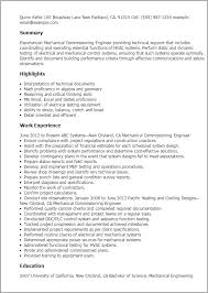 Resume Format For Mechanical Professional Mechanical Commissioning Engineer Templates To