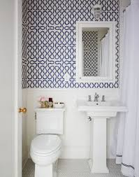 Navy Blue And White Bathroom by A Brooklyn Townhouse By Nicole Gibbons Powder Room Vivienne