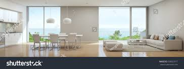 luxury beach house floor plans sea view kitchen dining living room stock illustration 658022917