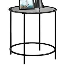 modern round end table amazon com sauder soft modern round end side table black clear
