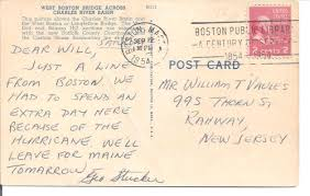 1954 postcard message had to spend an day here because of