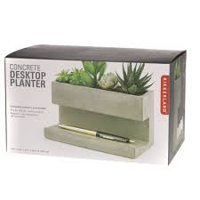 shop kikkerland concrete desktop large planter