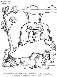 david hides from saul coloring page bible class david jonathan