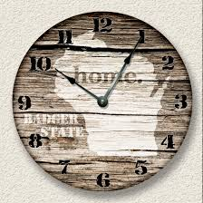 Rustic Cabin Home Decor Wisconsin Home State Wall Clock Barn Boards Pattern