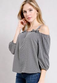striped blouse open shoulder striped blouse shop and now at papaya clothing