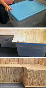 Furniture Rubbermaid Indoor Storage Rubbermaid Super Easy Diy Bench Made With Rubbermaid Containers This Would