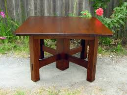 square table with leaf voorhees craftsman mission oak furniture gustav stickley inspired