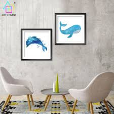 dolphin home decor modern art blue whale dolphins paintings on canvas wall art