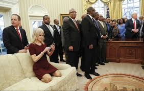 Trump Gold Curtains by Kellyanne Conway Kneels In Oval Office On Couch During Hbcu