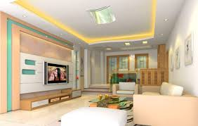 pretty living room idea with chic lighting and wall mounted tv