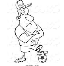 vector of a cartoon coach man resting a foot on a soccer ball