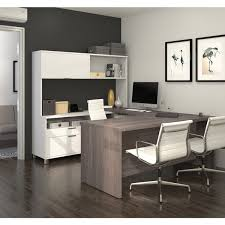 bestar pro linea u desk with hutch com ping the