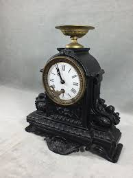 black wrought iron table clock wrought iron table clock black colour decorated with floral