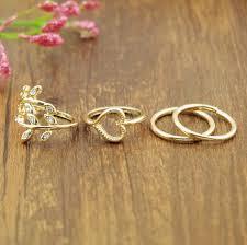 golden flower rings images Fashion design vogue silver gold flower heart finger ring set 1set jpg