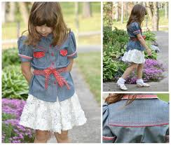 girls blouse western style pdf sewing pattern button up