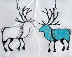 reindeer decor silver stained glass deer