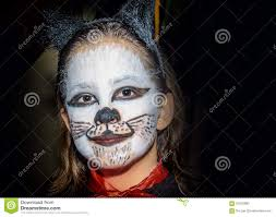 happy little with kitty cat make up stock photo image 67652892