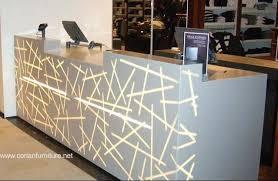 Illuminated Reception Desk Custom Sized Designer Acrylic Solid Surface Shop Salon Small
