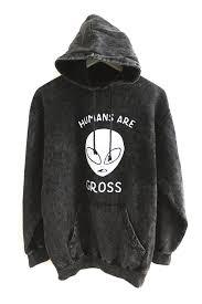 humans are gross vintage wash alien hoodie u2013 era of artists