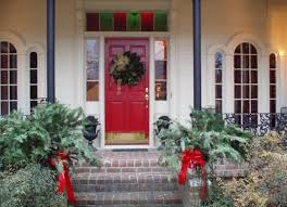 calmly front step decor toward red front entry door together with
