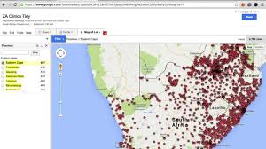 Map Of South Africa by How To Create A Map Of South African Health Clinics Using Google