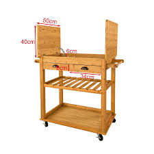 meubles en bambou sobuy fkw08 n xxl desserte à roulettes chariot en bambou de haute