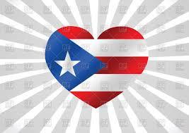 Puertorican Flag Puerto Rico Flag Heart Shaped Royalty Free Vector Clip Art Image