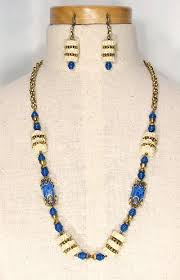 art glass necklace images Vintage freirich blue art glass celluloid necklace and earrings jpg