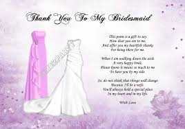 matron of honor poem a4 thank you to my bridesmaid poem wedding day gift pink dress
