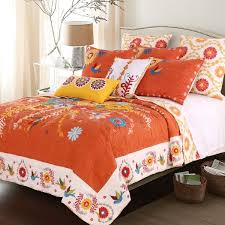 topanga bohemian floral orange quilt set free shipping today