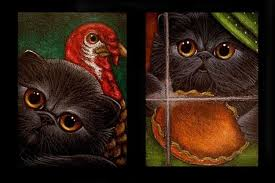 2 black kitten cats thanksgiving day by cyra r cancel from