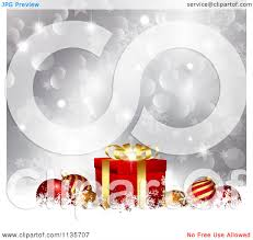 clipart of a silver christmas background with baubles gifts bokeh
